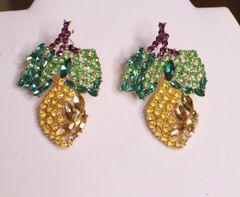 6344 Baroque Rhinestones Pineapple Earrings