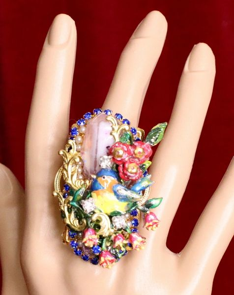 6345 Genuine Huge Lace Agate Enamel Birds Cocktail Adjustable Ring