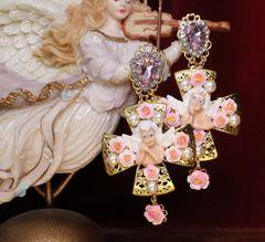 6346 Baroque Cherub Angel Roses Cross Earrings