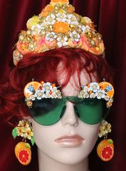 6347 Baroque Sicilian Orange Fruit Hand Painted Embellished Sunglasses