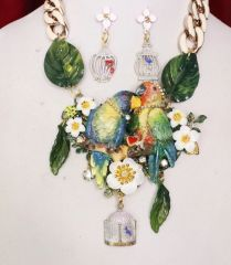 SOLD! 6348 Set Of Art Jewelry 3D Effect Hand Painted Love Birds Parrots Flowers Massive Necklace