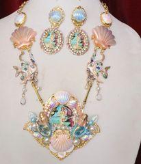 6350 Birth Of Venus Sea Horse Fish Baroque Necklace SET