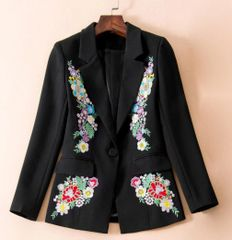 6363 Runway 2019 2 Colors Floral Embroidery Blazer