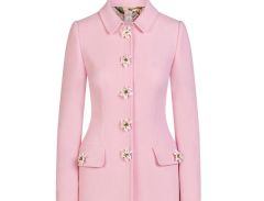 6375 Rose Buttons Pink Elegant Trench Coat