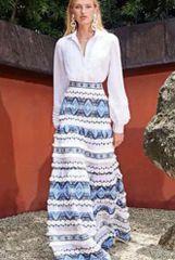 6218 Runway 2019 Folk Stitched Boho 2 Colors Maxi Linen Skirt