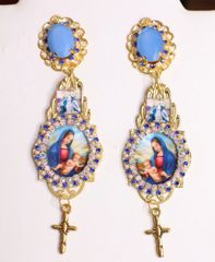 6381 Virgin Mary Blue Rhinestones Cameo Earrings