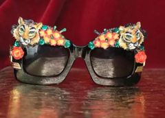 6382 Baroque Leopard Flowers Hand Painted Embellished Sunglasses