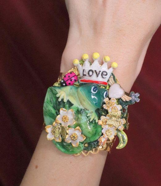 SOLD! 6383 Art Nouveau The Frog Prince Adjustable Bracelets