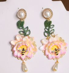 6384 Art Nouveau Hand Painted Water Lily Bee Earrings