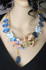 6385 Baroque Genuine Opal Musical Cherub Necklace Choker