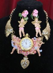 6386 Baroque Watch Winged Hand Painted Cherubs Angels Necklace