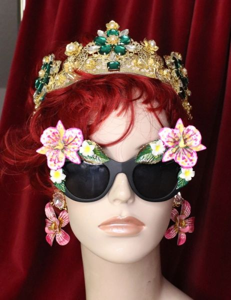 6390 Baroque Hawaii Plumeria Orchid Embellished Sunglasses