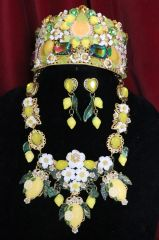 6391 Set Of Hand Painted Baroque Lemon Fruit Flower Blossom Massive Necklace+ Earrings