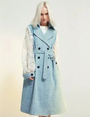 6401 Runway 2019 Grunge New-Yorker Lace Sleeve Trench Coat