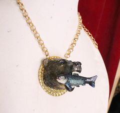 6404 Art Jewelry 3D Effect Bear Fish Unisex Pendant Necklace