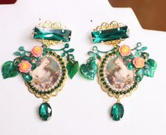 6405 Victorian Madonna And A Child Roses Leaf Studs Earrings