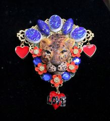 6406 Baroque Art Jewelry Hand Painted Leopard Genuine Turquoise Opal Huge Brooch