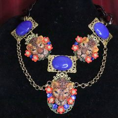 6407 Art Jewelry 3D Effect Genuine Sulemani Gemstones Hand Painted Leopards Massive Necklace
