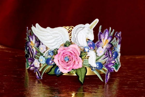 6410 Baroque Art Jewelry Unicorn Flower Aplliques Fancy Headband