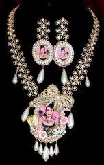 6412 Set Of Audrey Hepburn Crystal Pearl Necklace + Earrings