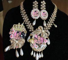 6413 Audrey Hepburn Crystal Pearl Huge Brooch