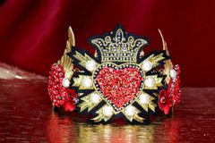 SOLD! 6414 Baroque Art Jewelry Sacred Heart Aplliques Fancy Headband