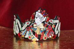 SOLD! 6416 Baroque Art Jewelry Queen Snakes Aplliques Fancy Headband