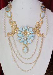 6417 Genuine Caribbean Larimar Victorian Lions Pearl Huge Pendant Necklace