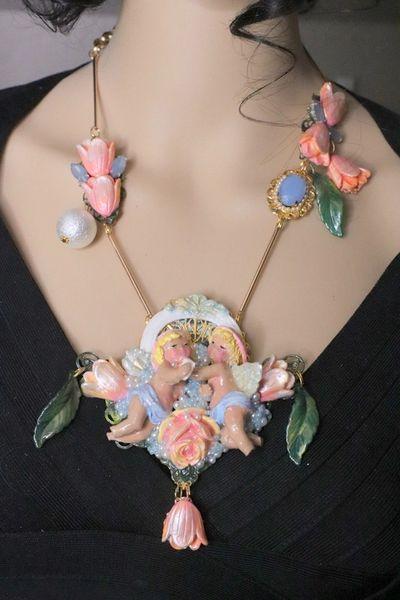 6418 Rococo Vivid Cherubs Angels Taking Tulip Bath Pendant Necklace