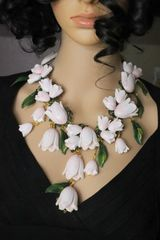 SOLD! 6429 Magnolia Flower Irregular Hand Painted Statement Necklace