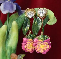 6432 Rococo Hand Painted Peony Flower Leaf Massive Studs Earrings