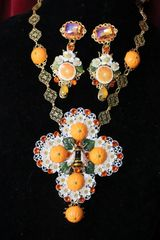 6438 Set Of Baroque Sicilian Orange Fruit Enamel Bee Massive Cross+ Earrings