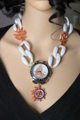 SOLD! 6439 Nautical Watch Coral Reef Chain Massive Necklace