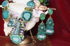 6440 Baroque Malachite Effect Fountain Lion Pearl Massive Studs Earrings