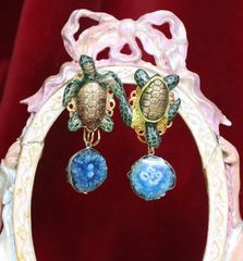6442 Nautical 3D Effect Vivid Turtle Genuine Agate Massive Studs Earrings