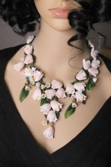 6443 Magnolia Flower Lily Of The Valley Irregular Hand Painted Statement Necklace