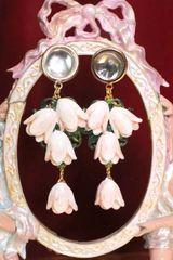 6445 Hand Painted Magnolia Massive Studs Earrings