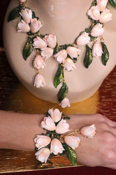 SOLD! 6446 Baroque Hand Painted Magnolia Flower Adjustable Bracelet