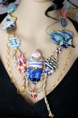 6447 Art Jewelry Nautical Fish-man Catching A Big Fish Genuine Agates Massive Necklace