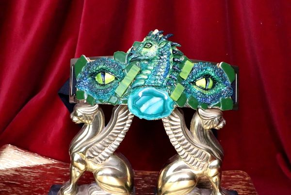 SOLD! 6448 Art Jewelry Medieval Dragon's Eyes Agate Waist Belt Size S, L, M