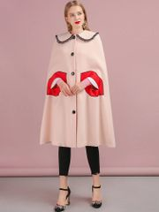 6479 Runway 2019 Lips Pockets Poncho Light Coat