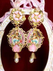 6481 Baroque Cherubs Angels Renaissance Cameo Massive Studs Earrings