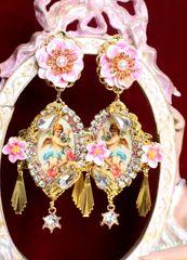 6482 Baroque Cherubs Angels Renaissance Cameo Gold Tassels Massive Studs Earrings