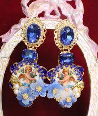 6485 Baroque Cherubs Angels Renaissance Cameo Blue Flower Massive Studs Earrings