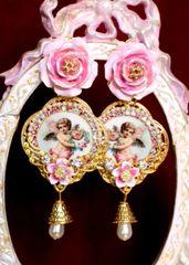 6486 Baroque Cherubs Angels Renaissance Cameo Pink Rose Massive Studs Earrings