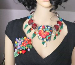 6487 Art Jewelry 3D Effect Hand Painted Hummingbird Genuine Mozambique Ruby Massive Statement Necklace