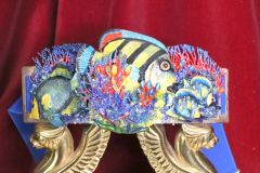 6488 Art Jewelry Nautical Hand Painted Fish Coral Reef Waist Belt Size S, L, M