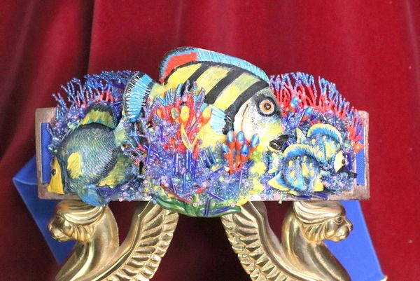 SOLD! 6488 Art Jewelry Nautical Hand Painted Fish Coral Reef Waist Belt Size S, L, M