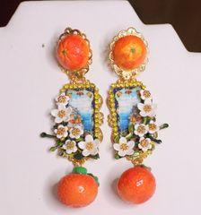 SOLD! 6490 Baroque Palermo Orange Fruit Cameo Massive Studs Earrings