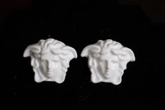6491 Baroque White Architect Head Studs Earrings
